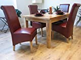 Solid Oak Extending Dining Table with 6 Kelsey Red Leather Dining Chairs Set
