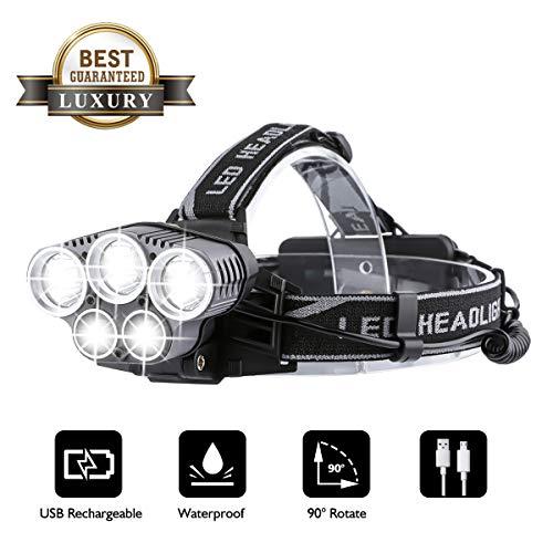 OUTERDO Stirnlampe LED Superheller,Kopflampe 10000LM 5 LED 6 Modi Wasserdicht,USB Wiederaufladbare Einstelllbare Eingebauter Akku mit Warnleuchte,Stirnleuchte Für Retten/Camping/Angeln/Klettern