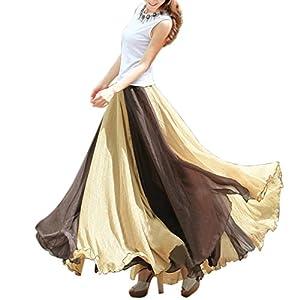 BienBien Donna Gonna da Mare Lunga Vestito Vintage Maxi Gonna Retrò Abito Swing Pin Up Chiffon Orlo Grande Vita Alta… 4 spesavip