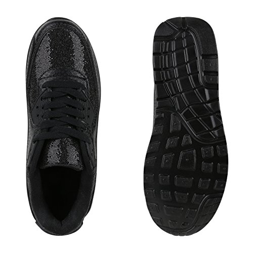 Damen Herren Unisex Sportschuhe Neon Runners Laufschuhe Sneakers Schwarz Nero