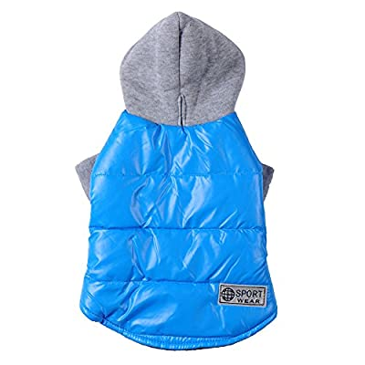 Cold Winter Clothes Dog Hoodie Coat Pet Comfy Jackets Warm Fleece, Blue