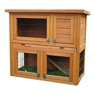 BUNNY BUSINESS 2 Tier Double Decker Rabbit/ Guinea Pig Hutch with Sliding Tray/ Deluxe Hutch Cover, 36-inch 10