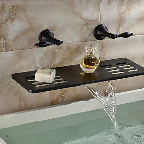 Gowe Luxus Öl eingerieben Bronze Badezimmer Wasserhahn Wasserfall Wand montiert Eitelkeit Spültischbatterie W/Seifenschale Regal ('w-badezimmer-eitelkeit)