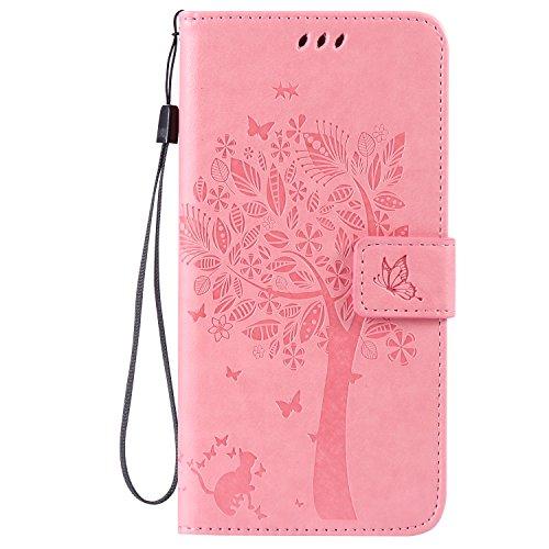 Apple iPhone 6 Plus 5.5 Custodia, Feeltech Sbalzato Albero Gatto Farfalla Modello Fiore Progettazione [Stylus Pen] Per il coperchio Apple iPhone 6 Plus 5.5 Case, Elegante Cuoio dellunità di Elaborazi Rosa