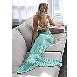XILIUHU Hot Mermaid Decke Handgefertigt aus Gewirken Mermaid Schwanz Erwachsener Kinder Schlafsack Fernseher Sofa Betten, super weich Farbe Decken, 1.180 X 90 cm