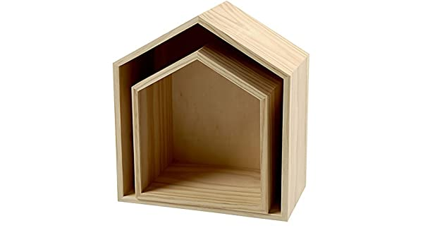 3-teiliges Set Holzbox Holz unbeh. Wandregal Wanddekoration Regalbox Hausform