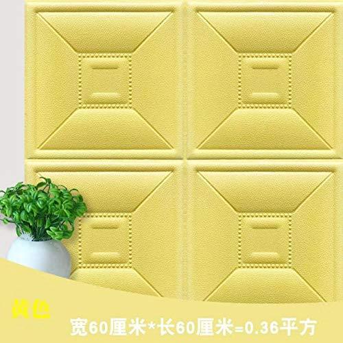 ZMLI Wandaufkleber Weichen Paket Tatami Weiche Tasche Tv Hintergrund Wand Kunstleder Grün Selbstklebende Kissen Gelb 60 * 60Cm -
