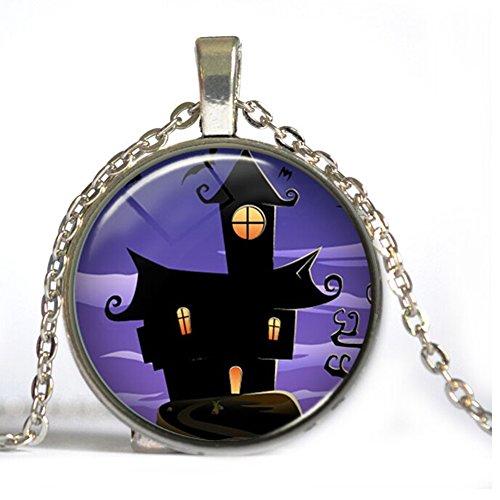 HIJONES Schmuck Kinderzeit Gem Cabochon Mitternachts Haus Pattern Anhänger Ketten, Halloween Geschenk, Silber