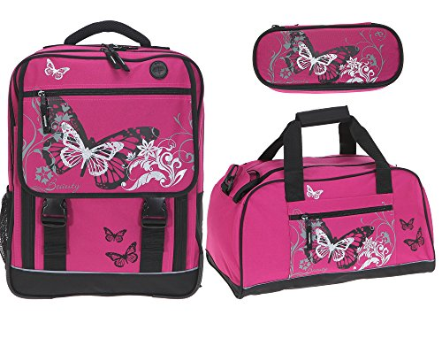 FABRIZIO Schulranzenset 3 Teile: Schulrucksack + Sporttasche + Mäppchen (Butterfly Magenta)