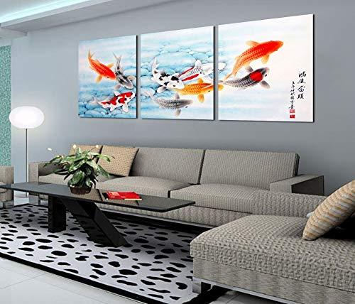 ZJMI Dekorative Malerei Koi Fische Bunte Fische Wand Kunst Chinesische Malerei Wand Kunst auf Leinwand Home Decor moderner Wand Bild für Wohnzimmer kein Rahmen 60 × 60 cm (Koi Fisch-wand-kunst)