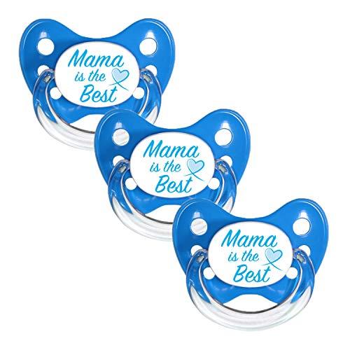 Dentistar® Silikon Schnuller 3er Set - Beruhigungssauger, Nuckel, Nuggi, Größe 3, 14+ Monate - zahnfreundlich & kiefergerecht | Blau Mama