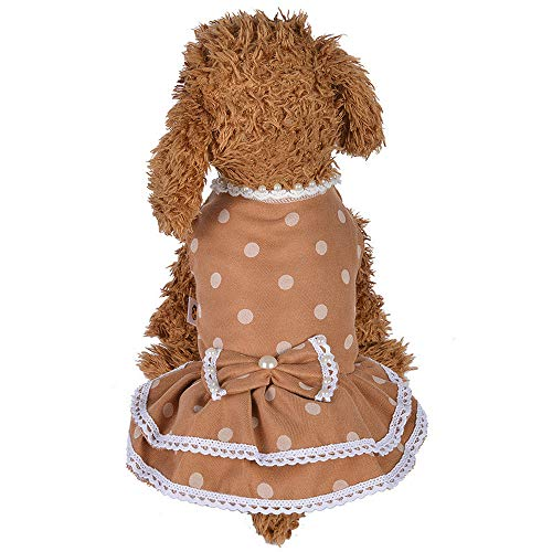 Kostüm Bow Schuhe - Balock Schuhe Frühlings-Sommer-Perle Dot Bow Pet Dog Kostüme Kleidung,Hund Frühling Sommerkleid Kleider,Mode Schöne Sommer Süßer Welpe Hund Haustier Kleid,Perfekt Zum Wandern,Joggen (Gelb, 10)