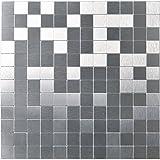Art3d Pieces Aluminium Wall Backsplash Tile Peel and Stick, 30cm x 30cm Brushed Silver