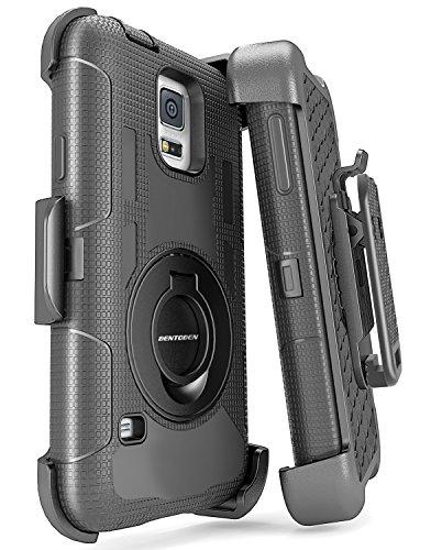 BENTOBEN Samsung Galaxy S5 Hülle, 3 in 1 stoßfeste Schutzhülle Hybrid solide PC Flexible Silikon Schwenkhalterung und Gürtel-Clip rundumschutz Hülle für Samsung S5 (M249-Schwarz)