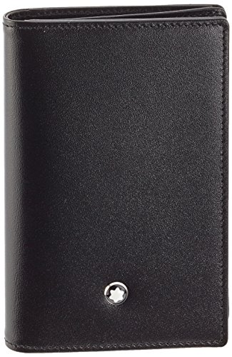 Business card holder made of black European full-grain cowhide with unique Montblanc deep shine, jacquard lining with Montblanc brand name, and a Montblanc emblem with palladium-coated ring, with compartment for business cards, 2 pockets for credit c...
