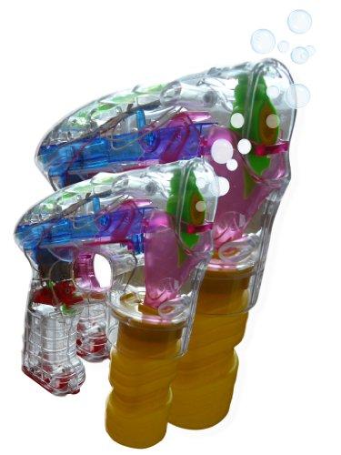 2er Set Duo 2 Stk. Seifenblasenpistolen blinkend Party Kindergeburtstag Hochzeit Geschenke Sommer Bubble Gun Kinder Spielzeug Seifenblasen Garten S22 (Bubble Guns Für Hochzeiten)