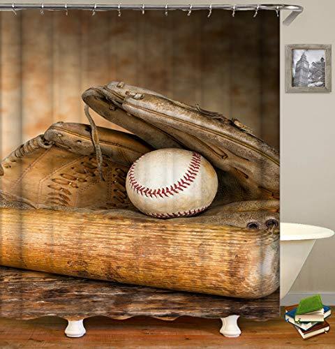 ajhgfjgdhkmdg Baseballhandschuh-Baseballschläger und weißer Baseball auf dem braunen Hintergrund HD einfach, Duschvorhang zu löschen