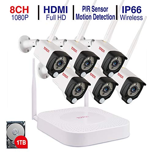 Tonton 1080P HD Audio Funk Überwachungskamera System Wireless 8CH NVR Überwachungssystem mit 6 Außen 1080P 2.0MP WLAN Outdoor Netzwerk IP Kamera mit Tonaufnahme PIR Sensor 1TB Festplatte inklusive Audio Recorder Wifi