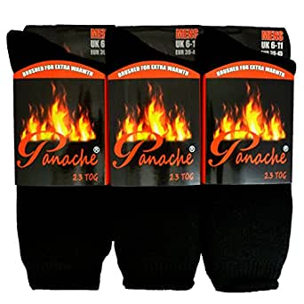 Heat SOCKS Lot de 3 paires de chaussettes thermiques ultra épaisses pour homme 2,3 togs Noir Taille 39-45