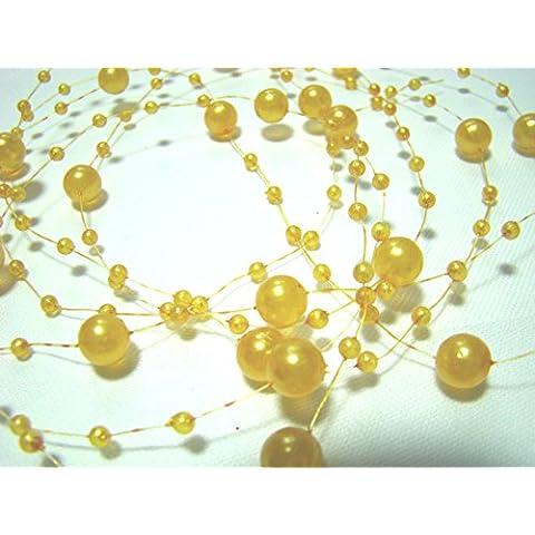 15 m guirnalda de Perlas 3 y 8 mm: Amarillo
