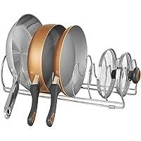 mDesign Organizador de sartenes y tapaderas – Soporte de metal cromado con 6 compartimentos para sartenes y tapas de ollas – Organizador de cajones y armarios de cocina