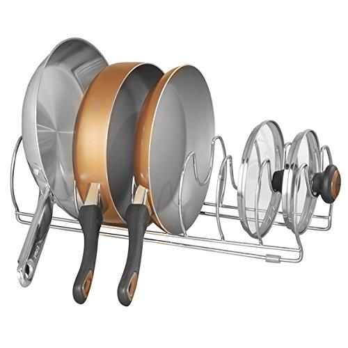 mDesign Pfannenhalter – praktischer Topfdeckelhalter – vielseitiger Geschirrständer – verchromtes Metall