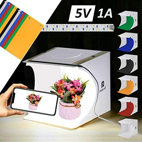 Hukz 20x20x20cm Fotostudio Lichtzelt mit 12 Farben Backdrops, Fotografie Softbox Kit für Fotografie und Produktwerbung, Foto Zelte Leuchtkasten Fotostudio Schießzelt Hintergründen Lichtbox Softbox