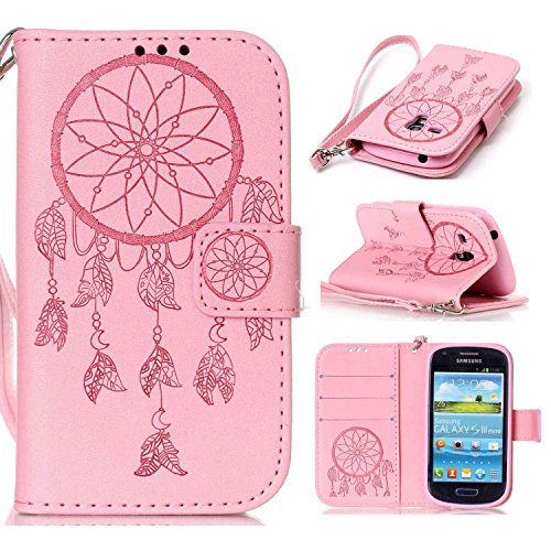 Ycloud Tasche für Samsung Galaxy S3 Mini (i8190) 4.0 Zoll Hülle, PU Ledertasche Flip Cover Wallet Case Handyhülle mit Stand Function Credit Card Slots Bookstyle Purse Design Traumfänger Rosa