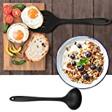 CRMICL 20 Stück Silikon-Küchengeräte, WisFox Kochgeschirr Stücke Hitzebeständiges Silikon-Geschirr Küchenhelfer Set, Antihaft-Küchenbackwerkzeuge 10 Sätze + 10 S-Haken -Schwarz - 4