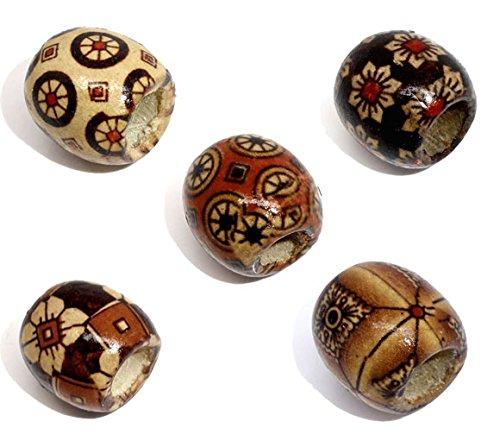 SiAura Material 100 Stück Holzperlen 16x17mm mit 7,4mm Loch, Muster Farben Mix zum Basteln