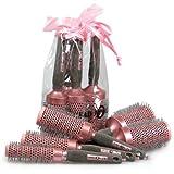 Head Jog 5 teilig Professional Ionen + Keramik Pink Radial Haarbürste Geschenkset