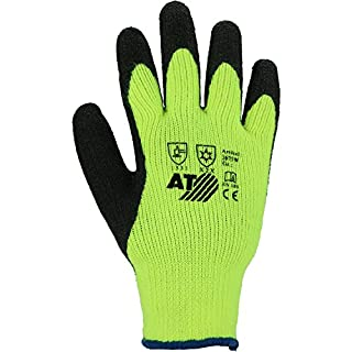 Asatex 3675W XL/10Winter Knitted Gloves with Latex Coat Bright Neon Yellow/Black, Size 10