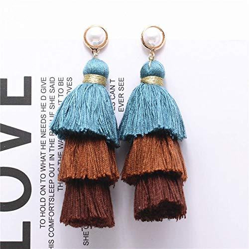 HUGJOU Ohrring Mode DREI Schichten QuasteOhrringe Handgefertigte Trendige Frauen Hochzeit Anweisung Ohrringe Fransen Ohrringe -