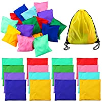 URATOT 16 Pieces 12 x 12cm Multicolor Nylon Bean Bags Sports Toss Game Bean Bag Carnival Toy with Drawstring Backpack Bag for Toss Game, 8 Colors