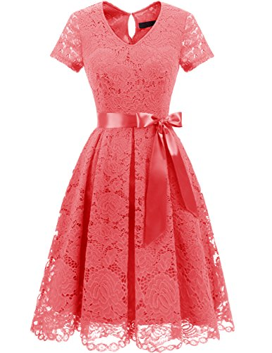 Dresstells Damen Spitzenkleid Herzform Elegant Cocktail Abendkleid Coral 2XL