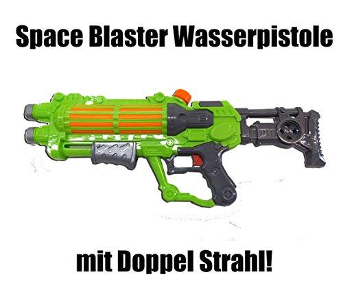 Brigamo 728516 - XL Wasserpistole Space Blaster DOPPELLÄUFIGE Wasser Spritz Pistole mit großem (Für Halloween Wasser Kostüme Flasche)
