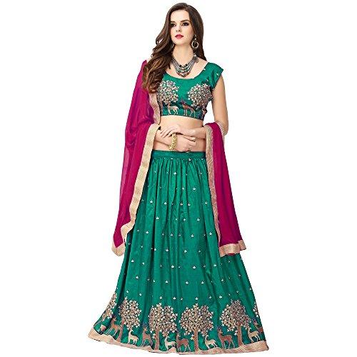 S R Fashion Womens Lehngha Choli With Dupatta For Girls(FWLC_Various_Colors_Jhoya_Silk) (Rama)