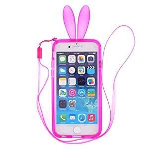 CaseBee - Cute Bunny Ears iPhone 6 / 6S Bumper Case (Package includes Screen Protector) (Red)
