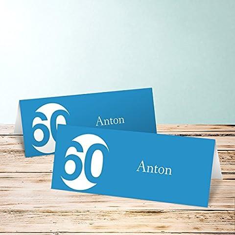 Tischkarten für Geburtstag, Runde 60 10 Karten, Horizontale Klappkarte 100x38, Blau