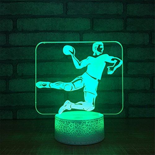 USB-Stromversorgung Dekorativ Spielen Sie Basketball 3D Touch optische ILLusion Nachtlicht Crackle Paint Base 7 Farben ändern neben Tisch Schreibtisch Deco Lampe Schlafzimmer Nightlight Tragbare Schlaflicht Kinder Geschenke