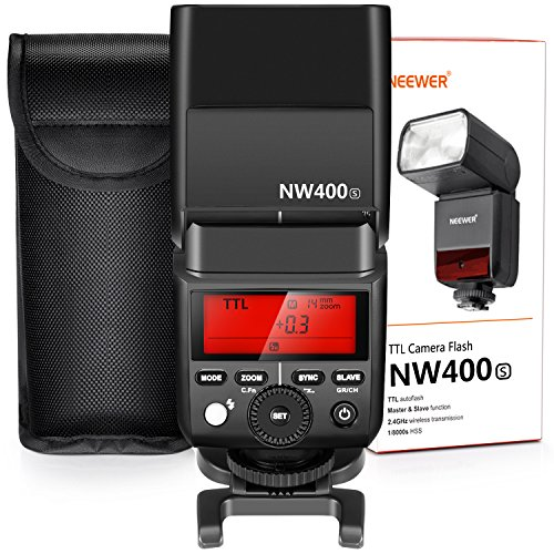 Neewer Kamera-Blitz, 2,4G HSS 1/8000s TTL GN36 kabellos Master Slave Flash Speedlite für Sony A7 A7R A7S A7II A7RII A7SII A6000 A6300 A6500 A77II A58 A99 RX10 Kameras mit hartem Diffusor (NW400S)