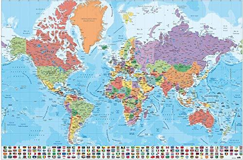 Close Up Póster Mapa Mundo Banderas Leyenda - Versión