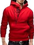 Merish Felpa con Cappuccio Uomo Slim Fit Sweatshirt 08 Rosso M