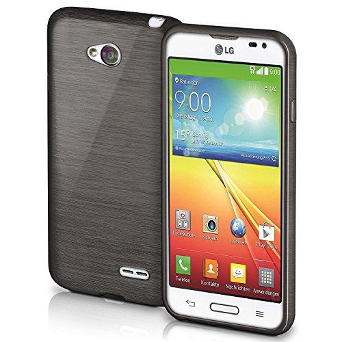 Handy Optimus Lg L70 Case Für (OneFlow Schutzhülle für LG L65 / L70 Hülle Silikon Case aus 1,5mm dünnem TPU | Zubehör Cover zum Handy Schutz | Handyhülle Bumper Tasche Gebürstet Aluminium Optik in Schwarz)