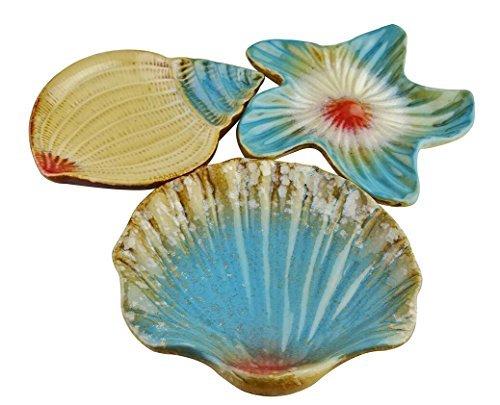 Vintage Mediterraner Stil Seestern Seashell Sea Nail Keramik Snack Caddy Fruit Sushi Dessertteller Geschirr Home decor- Set von 3