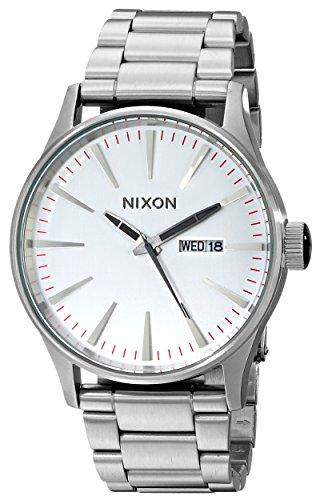 Nixon Sentry SS Silver – Reloj de cuarzo para hombre, correa de acero inoxidable color plateado