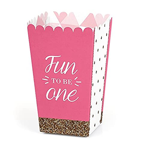 1st Birthday Girl - Fun to be One - Party Popcorn Boxes - Set of 12
