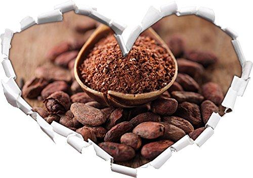 Cacao in polvere e la forma del cuore arrosto semi di cacao nel formato sguardo, parete o adesivo porta 3D: 92x64.5cm, autoadesivi della parete, decalcomanie della parete,