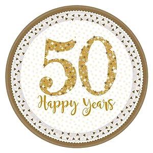 Amscan International-990221323cm brillante Golden aniversario de platos de papel