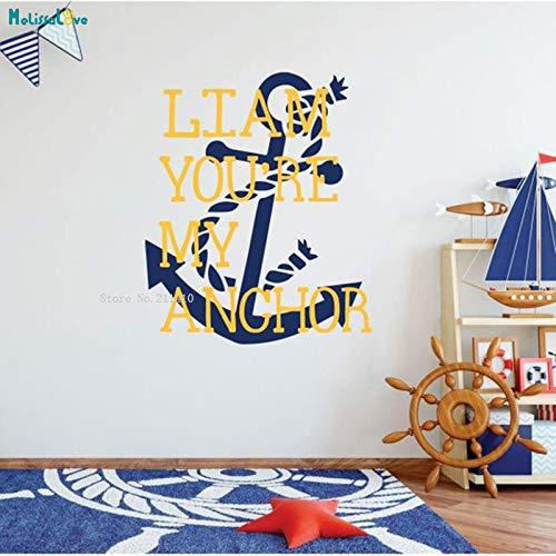 zhuziji Nome Personalizzato Adesivo Adesivo in Vinile Personalizzato Nautico Decorazione per la casa Tu Sei Il Mio per la Stanza dei Ragazzi o Sala Giochi Viola 56x67cm